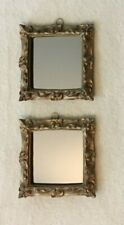 Set of 2 Square Ornate Gold Tone Mirrors-Wall or Stand-alone