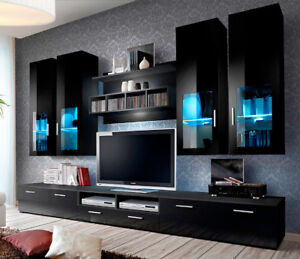 Presto 5 - black modern entertainment center for 65 inch tv /  tv wall unit