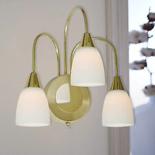 wofi LED Wall Light Casa 3 Arms Brass Switch Glass Opal White Classic Lamp