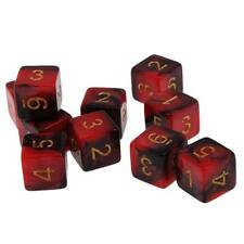 Pack/10pcs Red & Black D6 Dices for D&D Casino Poker Dice Guessing Games