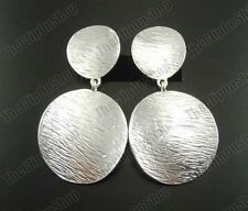 "CLIP ON EARRINGS drop TEXTURED SILVER TONE vintage retro 2.5""big circle tribal"
