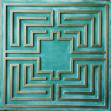 Ceiling Tile Faux Tin Cyan Gold Sculpture Cafe Decor Wall Panel Pl25 10tile/lot