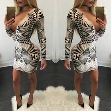 Womens Ladies V Neck Long Sleeve Bandage Slim Bodycon Dress Stretch Mini Dress