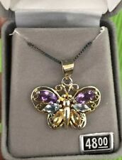 Beautiful Sterling Silver Stone Butterfly Necklace New In Box