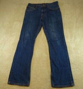 Lee Jeans Mens 34 Waist 32 Inseam Blue Denim Cotton Zip Straight Pants 34X32 *