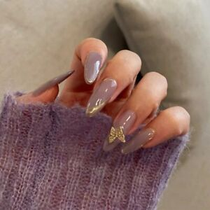 Purple Fake Nails Gold Tips 3D Butterfly Long Stiletto Full False Press On Nails