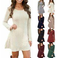 Women Knitted Sweater Jumper Mini Dress Knitwear Winter Winter Long Sleeve Top U