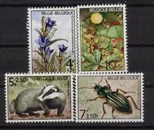 Belgium**FAUNA  & FLORA-Badger-Beetle-Gentian-4vals-Flowers-Insects-Mammals-1974