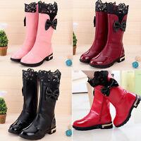Mädchen Kinder Winterstiefel Süße Spitze Schuhe Stiefel Boots Schnee Wasserdicht