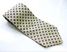 Gap Premium Neck Tie Yellow Blue Orange White Checks 100% Silk Necktie Made USA