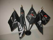 "Pirate Pirates Jolly Roger Set 6 Different Flags 4""x6"" Desk Set Table Black Base"