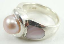 Sterling Silver Pearl Ring Pink MOP Mother of Pearl Cabochon Size 9