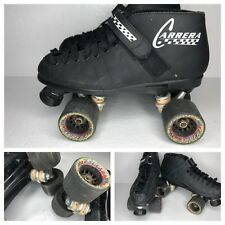 RIEDELL CARRERA Men Size 9 Speed Skates Quad Black Roller Derby Grip 95A Hyper