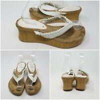 Mudd White Ribbon Wedge Chunky Heel Thong Sandal Womens Size 8 M
