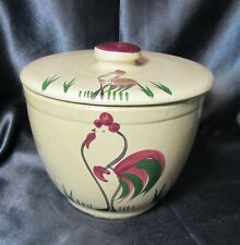 Vintage WATT POTTERY BOWL WITH COVER - ROOSTER