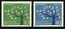 Germany 852-853, MNH. EUROPA CEPT. Young Tree with 19 Leaves, 1962