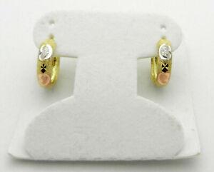 Solid 14k Multi-Tone Gold Huggie Hoop Earrings Diamond Cut