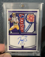 2020 National Treasures Joe Burrow Rookie Bowl Patch Auto 08/10 Bengals RC RARE