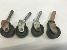 Vintage Casters Lot of 4 Metal and Hard Black Plastic Wheels Furniture Chair