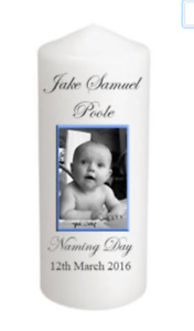 Personalised Your Photo Candle Christening Baptism Memory Keepsake Gift Boy Girl