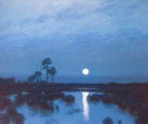 Lily Pad 24x20 Full Moon Marsh Impressionism wetlands Landscape Art Oil Painting