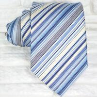 Necktie silk striped blue white gray classic 3.3 in Morgana Italy men's tie