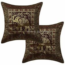 Ethnic Cotton Brocade Jacquard Pillow Cases 16 x 16 Elephant Cushion Covers 2 Pc