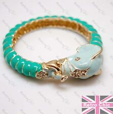 BIG ELEPHANT HEAD animal BANGLE blue/green enamel CRYSTAL quirky GOLD FASHION