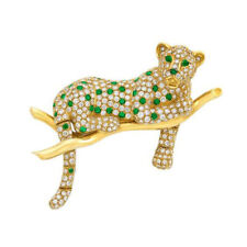 4.55CT ROUND DIAMOND EMERALD GEMSTONE 14K SOLID YELLOW GOLD TIGER BROOCH