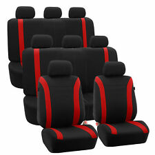 3-Row Car Auto Seat Covers for Auto Vehicle Sedan SUV Van Truck Red