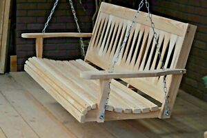 5ft Cypress Wood Diamond Porch Bench Swing With Hanging Hardware Made In USA