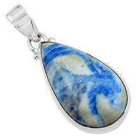 18.15cts Natural Blue Quartz Palm Stone Pear 925 Sterling Silver Pendant P59673