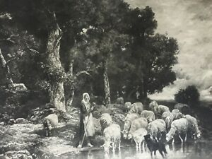 ANTIQUE PRINT DATED 1901 THE WANE OF THE DAY BY CHARLES JACQUE FARMING SHEEP ART
