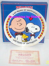 1990 Peanuts Collector Plate 40 Years of Happiness Snoopy Charlie Brown Le