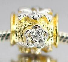 SOLID 925 Sterling Silver Cz Flower Two Tone BEAD For Charm Bracelet / Necklace