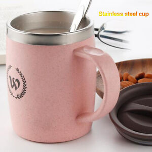 Coffee Tea Cup Handle Home Office Stainless Steel With Lid Double-wall Simple
