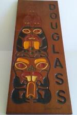 "Signed Stan Aubert Douglas Alaska Wood Totem Pole Sign 11.25 x 30.25"""