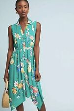 NWT Anthropologie Maeve Green Floral Rory Shirtdress Shirt Dress 6