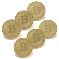 Bitcoin Gold Plated BTC Token Miner Cryptocurrency Commemorative Collection 6 pc