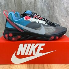 Nike React Element 87 Sz 10 Mens Black Cool Grey Blue Chill Mens Running Shoes