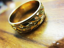 14k Yellow Gold Raised deep Carved Maile Lei Engraved Ring size# 10