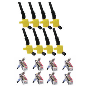 8x Motorcraft Spark Plugs SP493 & 8x Ignition Coils For Ford Lincoln DG508