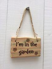 Bois flotté style je suis dans le jardin des Marguerites Fleurs Serre Hangar Signe Plaque