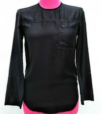 New JAMES PERSE Womens SANDED SATIN SEAMED TUNIC Round Neck Key Hole Black 1/S