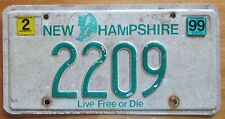 New Hampshire 1999 LOW NUMBER License Plate # 2209