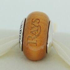 Authentic Pandora USB790705-G027 Tampa Bay Rays Baseball Wood Bead Charm