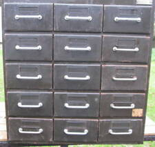 ancien meuble de métier industriel métal FLAMBO 15 tiroirs, vintage