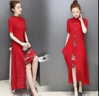 Elegant women's floral Chinese style qipao cheongsam Sleeveless long dress skirt