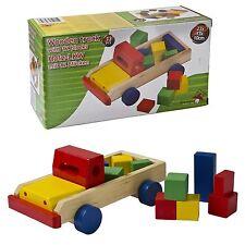 13 PZ CAMION in legno con 12 Blocchi di Costruzione Mattoni Set da Gioco per Bambini Regalo Giocattolo Set Nuovo