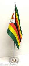 Zimbabwe Satin Flag with Chrome Base Table Desk Flag Set